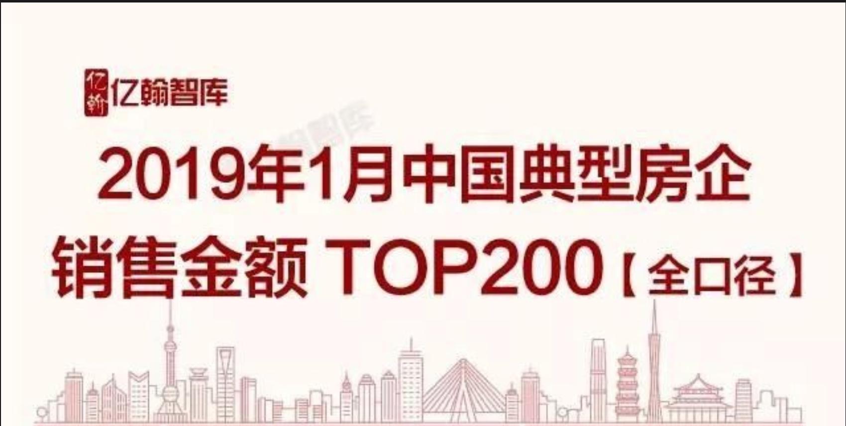 2019年1月富康实业跻身中国典型房企销售业绩TOP200榜单!